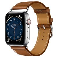 Часы Apple Watch Hermès Series 6 GPS + Cellular 44mm Silver Stainless Steel Case with Fauve Barénia Leather Attelage Single Tour
