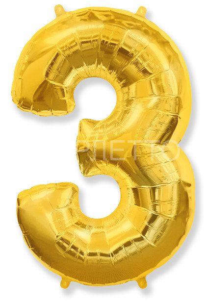 """Цифра """"3"""" золото"""
