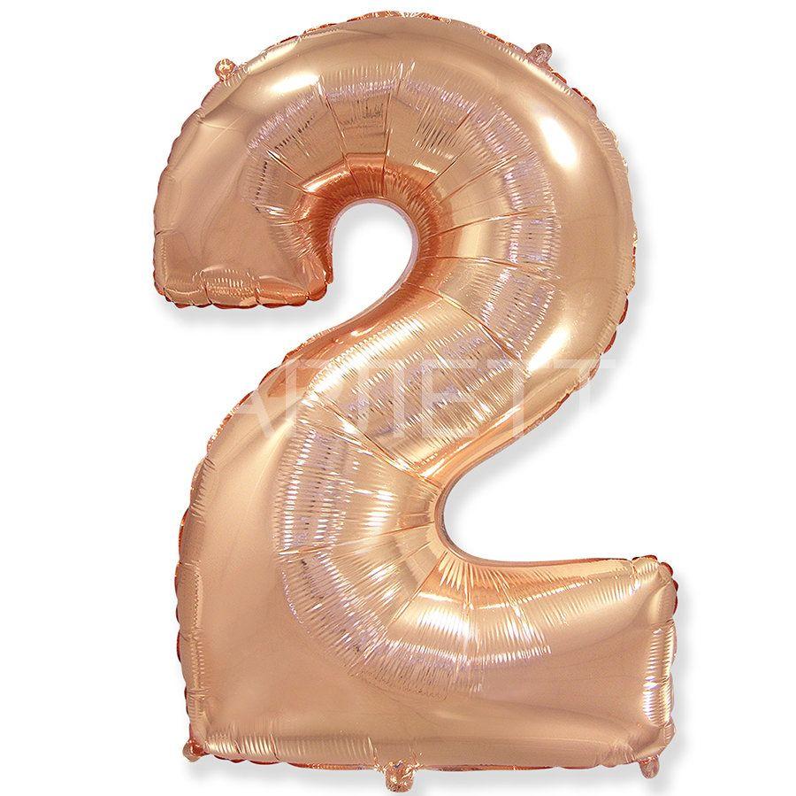 """Цифра """"2"""" розовое золото"""