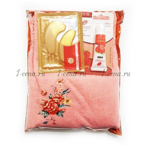 Подарочный набор Полотенце микрофибра+ патчи+бальзам для губ
