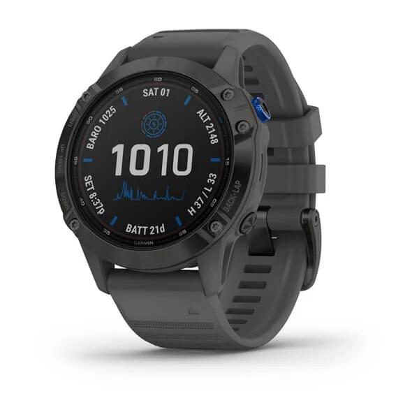 Часы Garmin Fenix 6 Pro Solar черный с серым ремешком