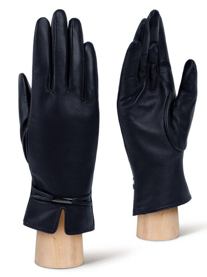 Синие кожаные перчатки ELEGANZZA