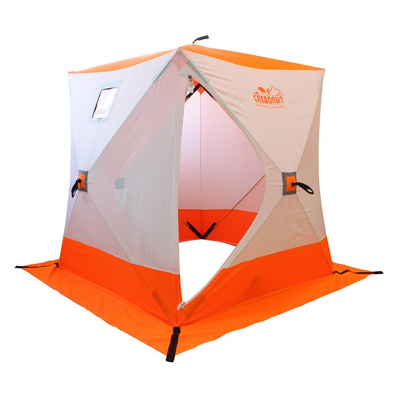 Палатка зимняя куб СЛЕДОПЫТ, 4-местная, цв. бело-оранж.