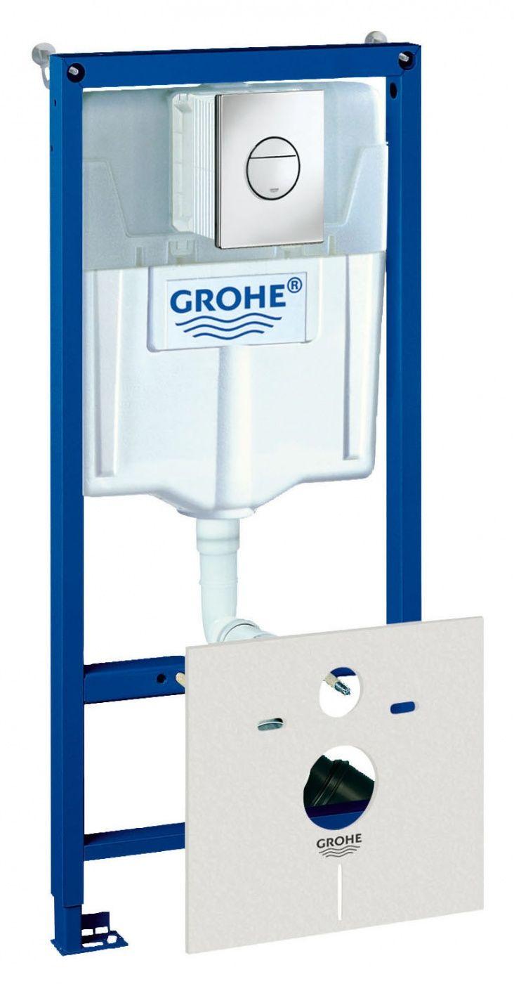 Инсталляция Grohe Rapid SL 38813001 для подвесного унитаза в комплекте с крепежом и кнопкой ФОТО
