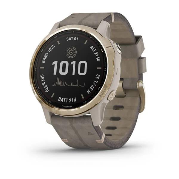 Часы Garmin Fenix 6S Pro Solar золотистый с серым замшевым ремешком
