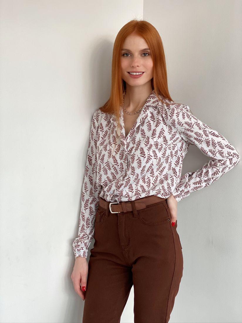s2867 Блуза с английским воротником с рябиновыми листьями