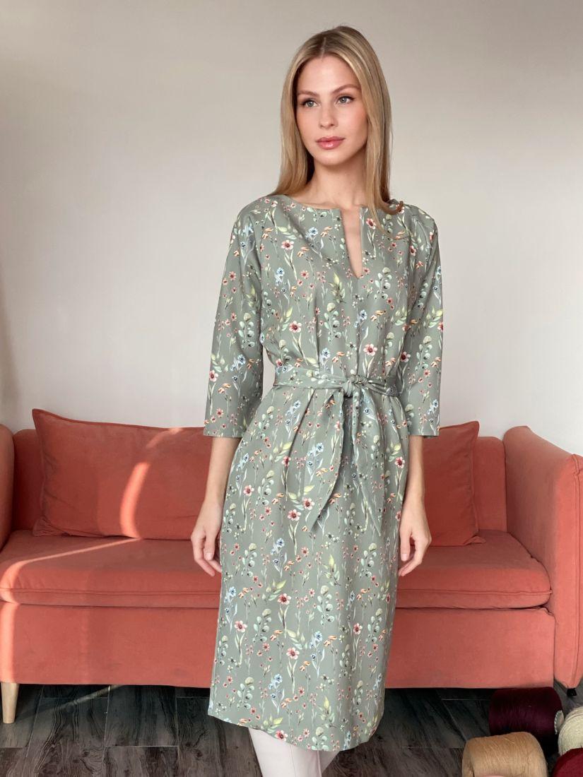 """s2875 Платье в приглушенном зелёном цвете с рукавом """"летучая мышь"""""""
