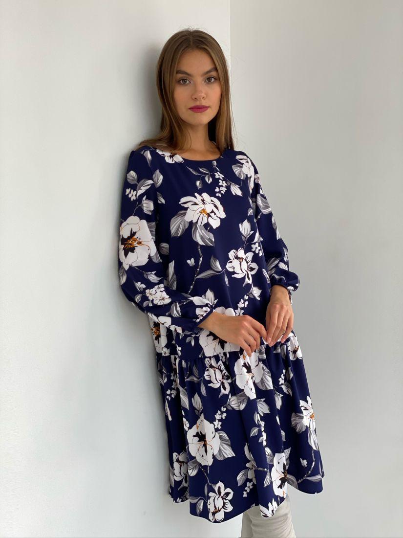 s2883 Платье с воланом синее с цветами