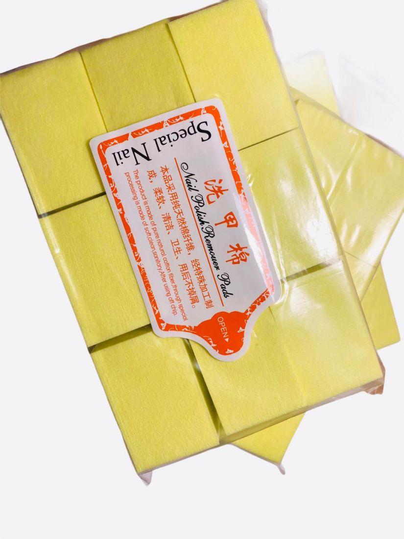 Cалфетки для снятия шеллака (упаковка 1000 шт.)  желтый цвет! плотные