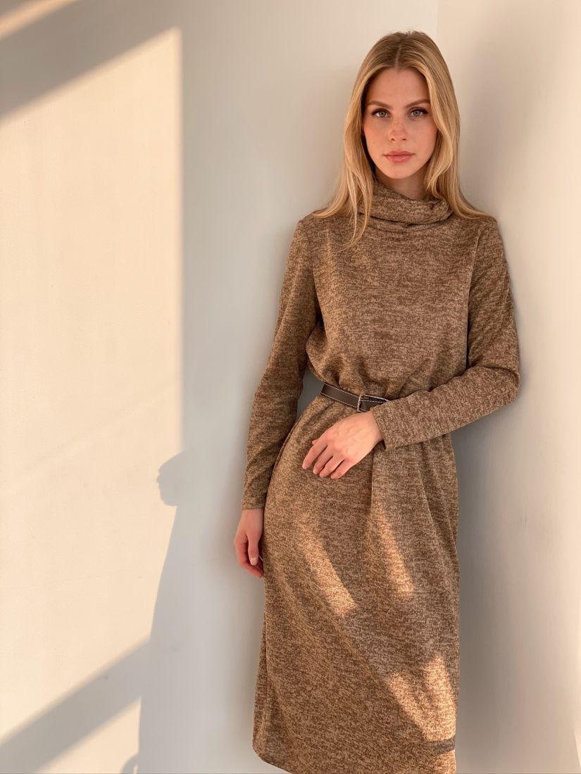 s2922 Платье-свитер кофейное