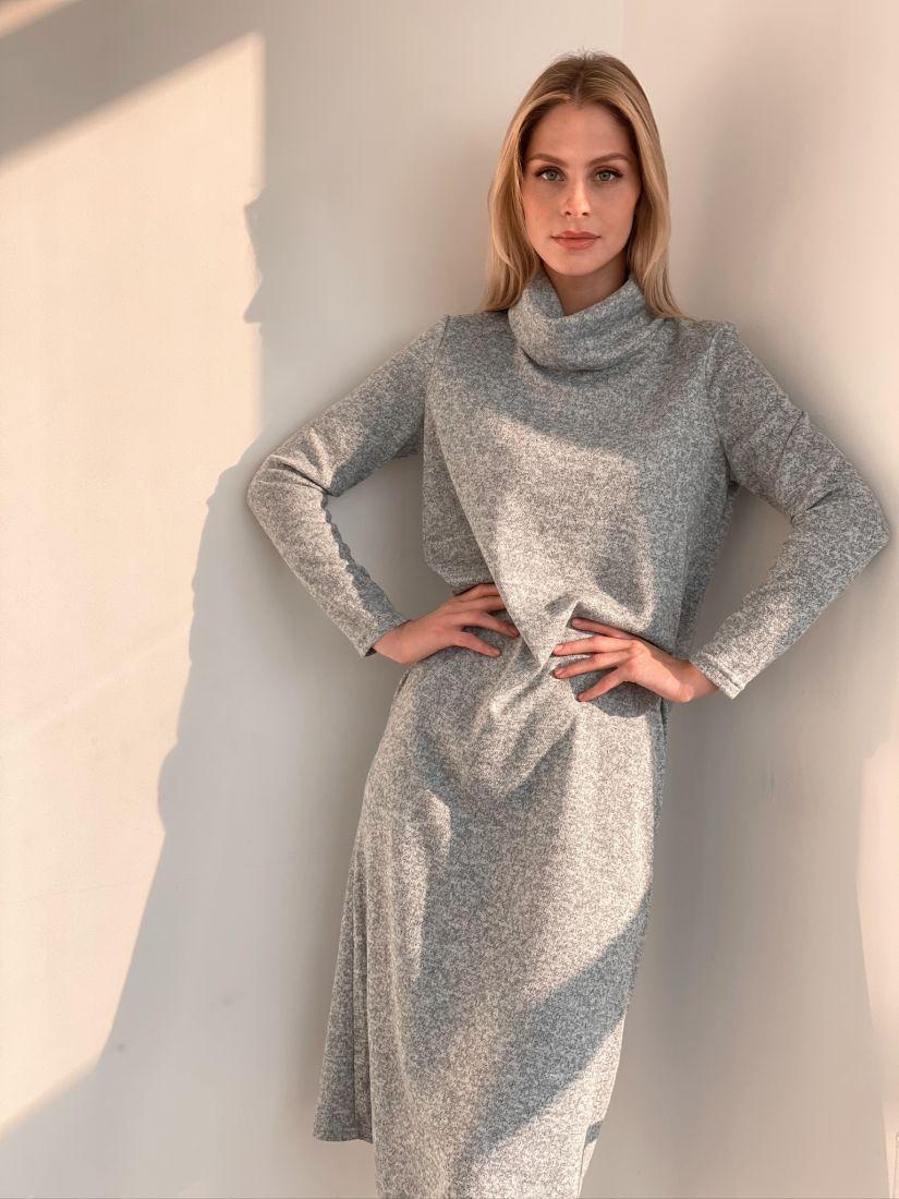 "s2927 Платье-свитер в цвете ""серый меланж"""