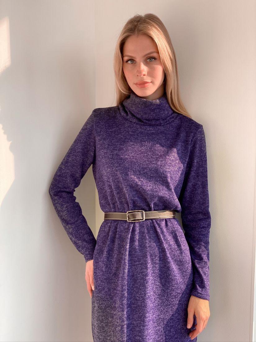 s2916 Платье-свитер фиолетовое