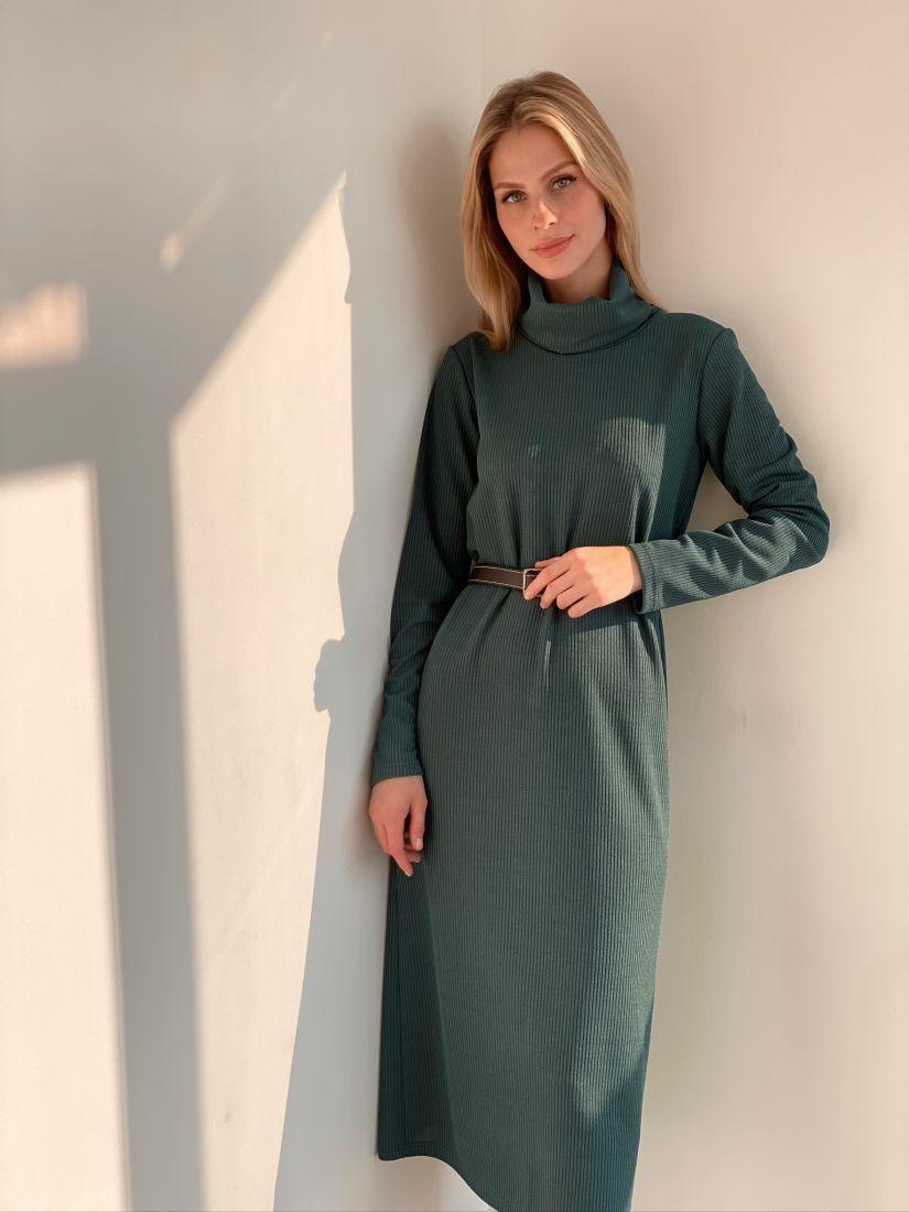 s2935 Платье-свитер в тонкую резинку в цвете папоротника