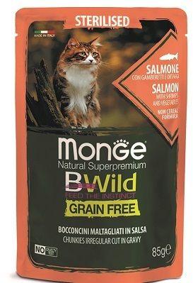 Monge Cat BWild Grain Free паучи из лосося с креветками и овощами (зеленая фасоль и морковь) для стерилизованных кошек