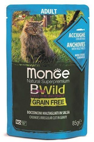 Monge Cat BWild Grain Free паучи из анчоусов с овощами (зеленая фасоль и морковь) для взрослых кошек