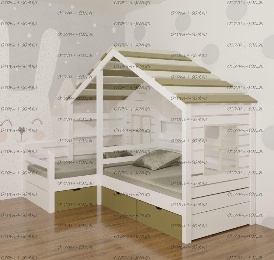 Кровать Домик угловой Fairy Land №26C (для двоих детей), любые размеры