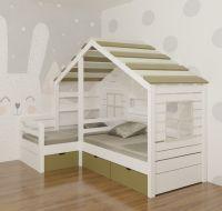 Кровать Домик угловой Fairy Land №26B (для двоих детей), любые размеры