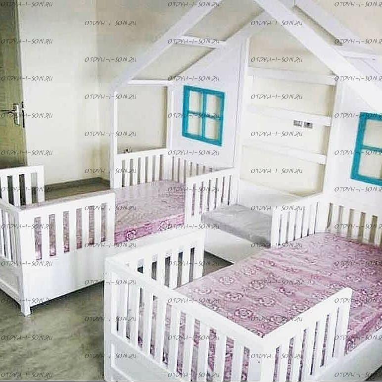 Кровать Домик угловой Butterfly №B07 (для двоих детей)