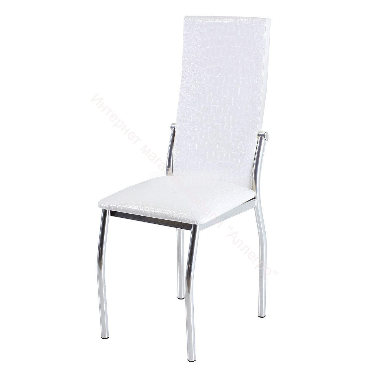 """Кухонный стул """"B-610"""" белый крокодил матовый/хром"""