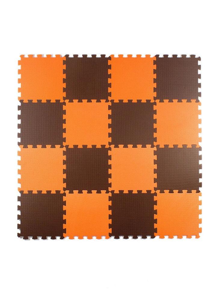 Мягкий пол универсальный Оранжево-коричневый 25*25 (см), 16 дет.