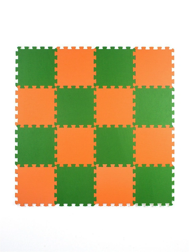 Мягкий пол универсальный 25*25 (см), Оранжево-зеленый, 16 дет.