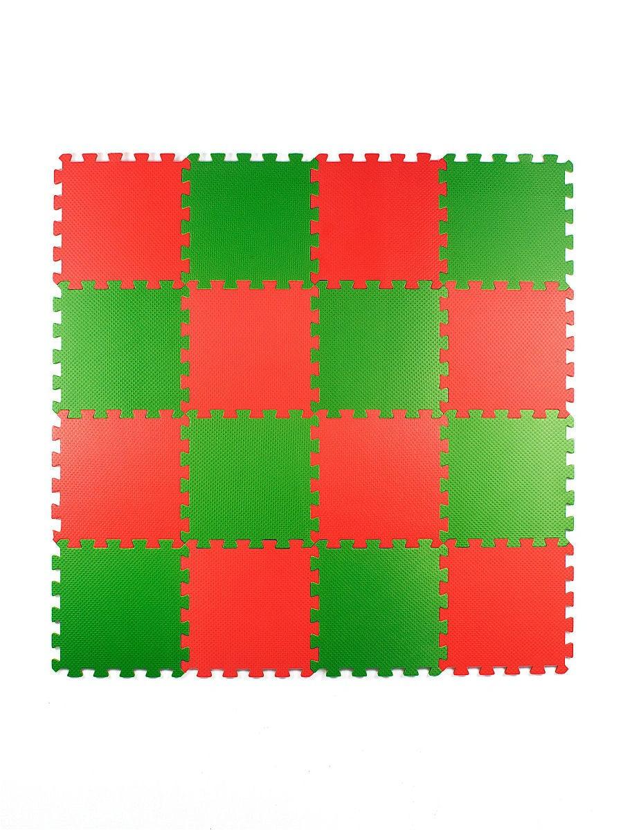 Мягкий пол универсальный 25*25 (см), красно-зеленый, 16 дет.