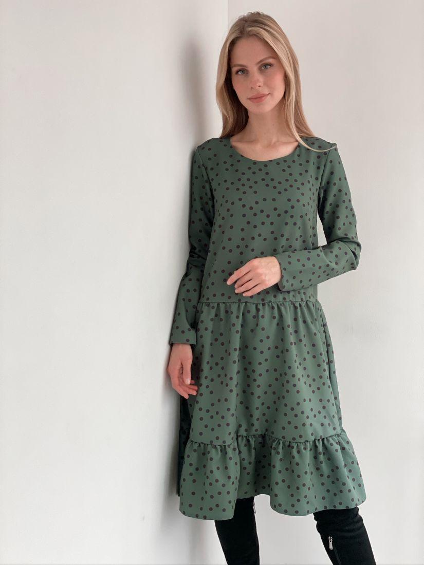 s2944 Платье с воланом изумрудное в горох