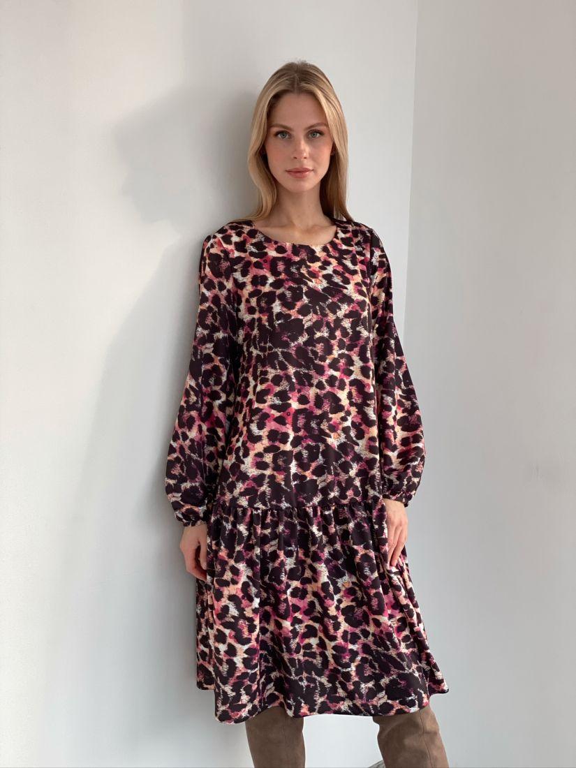 s2945 Платье с воланом леопардовое