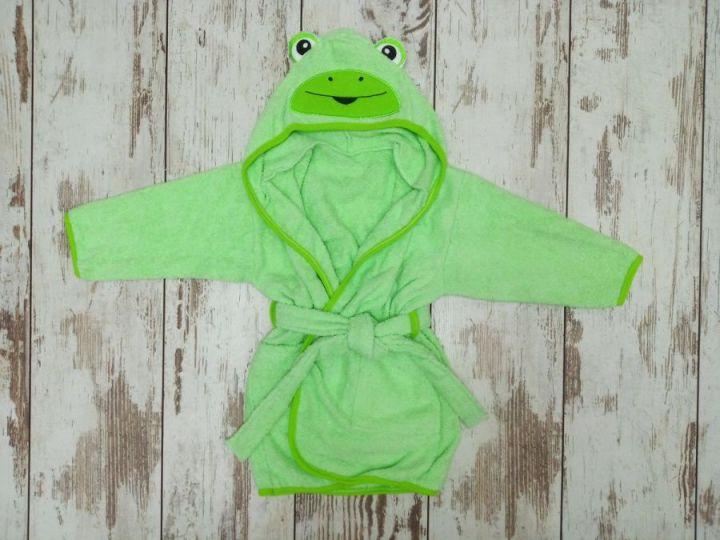 Халат банный с капюшоном махра V-XA033(k)-MA / цвет зеленый