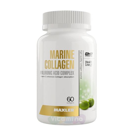 Maxler Marine Collagen + Hyaluronic Acid Complex Комплекс коллагена и гиалуроновой кислоты, 60 капс