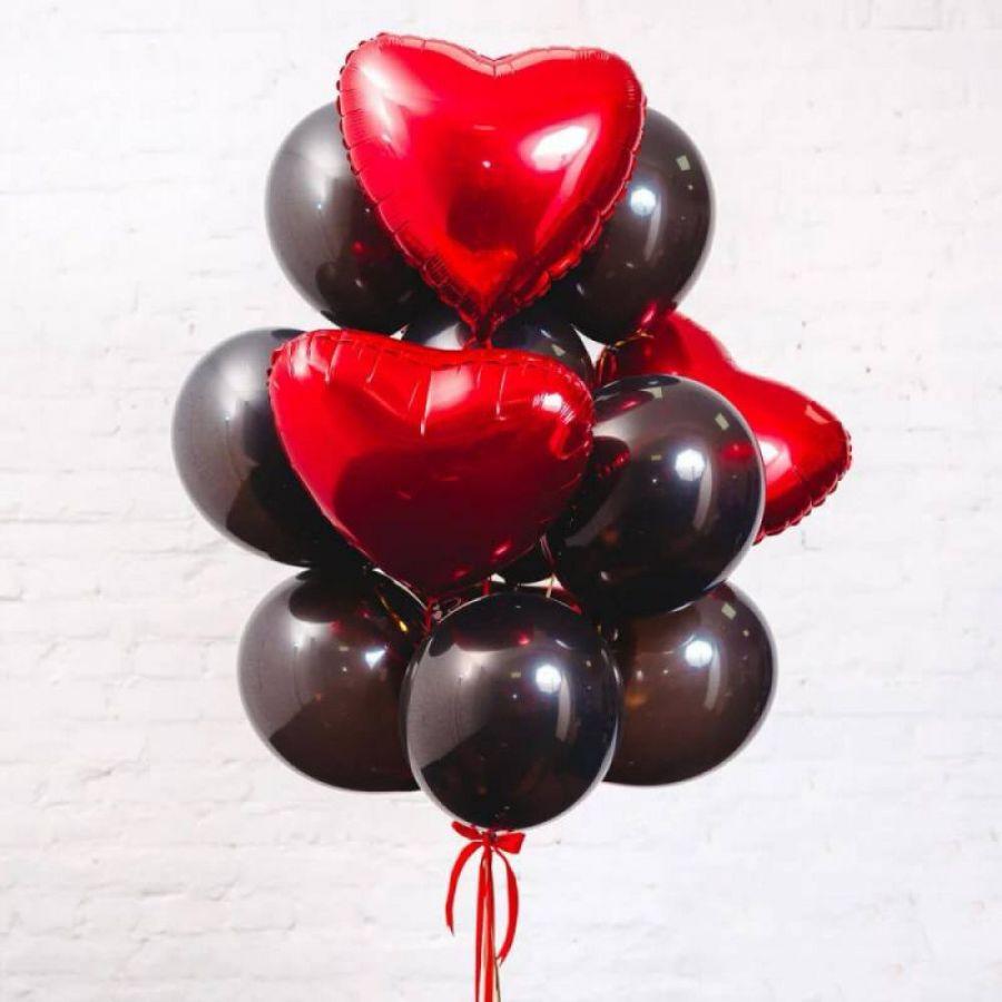 """связка шаров """"красное сердце """""""