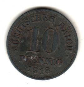 Германия 10 пфеннигов 1918