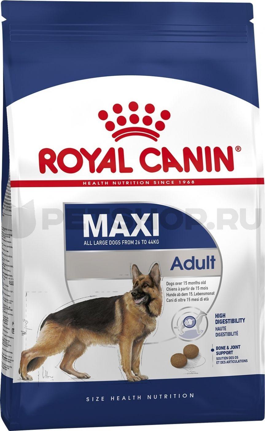 Royal Canin для взрослых собак крупных пород (26-44 кг): 15мес. -5лет (Maxi Adult)