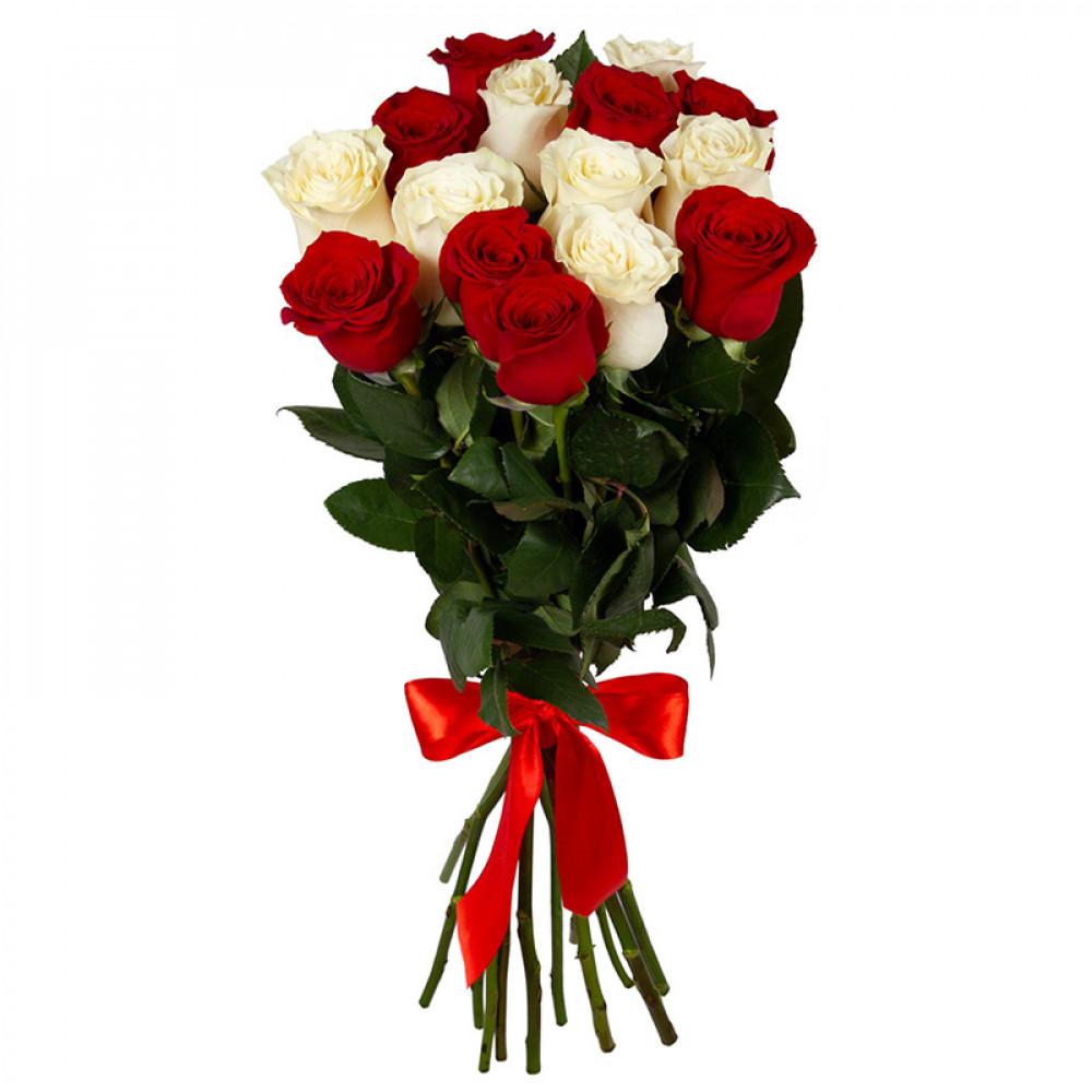 Розы красные и белые от 15 шт.