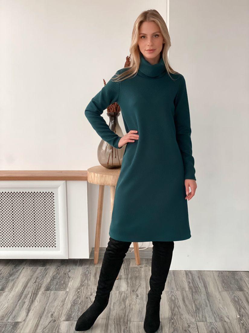 s2982 Платье-свитер трикотажное в цвете морской волны