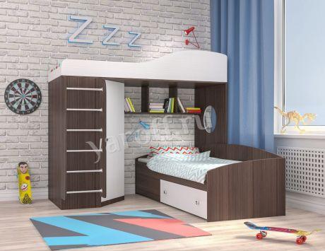 Кровать чердак Кадет 2 с металлической лестницей