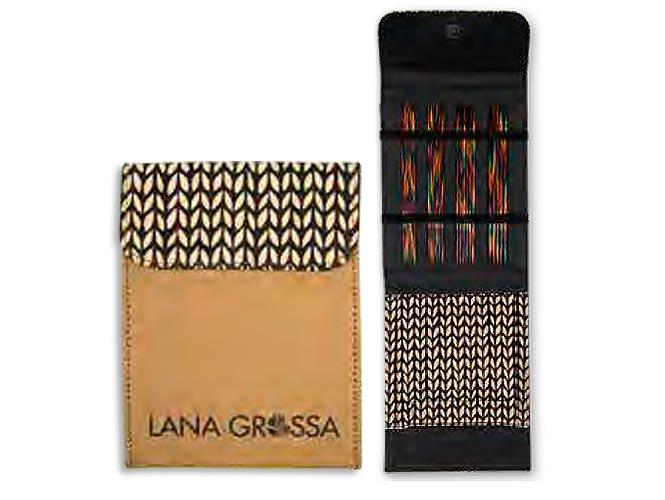 Набор чулочных спиц 15 см Lana Grossa, малый (дерево, Simfony, замша), цвет бежевый
