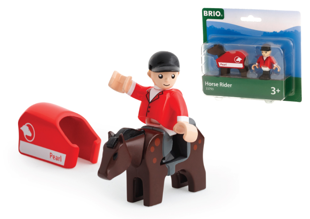 BRIO наб.лошадка с попоной и всадник,4х2х5см,кор.