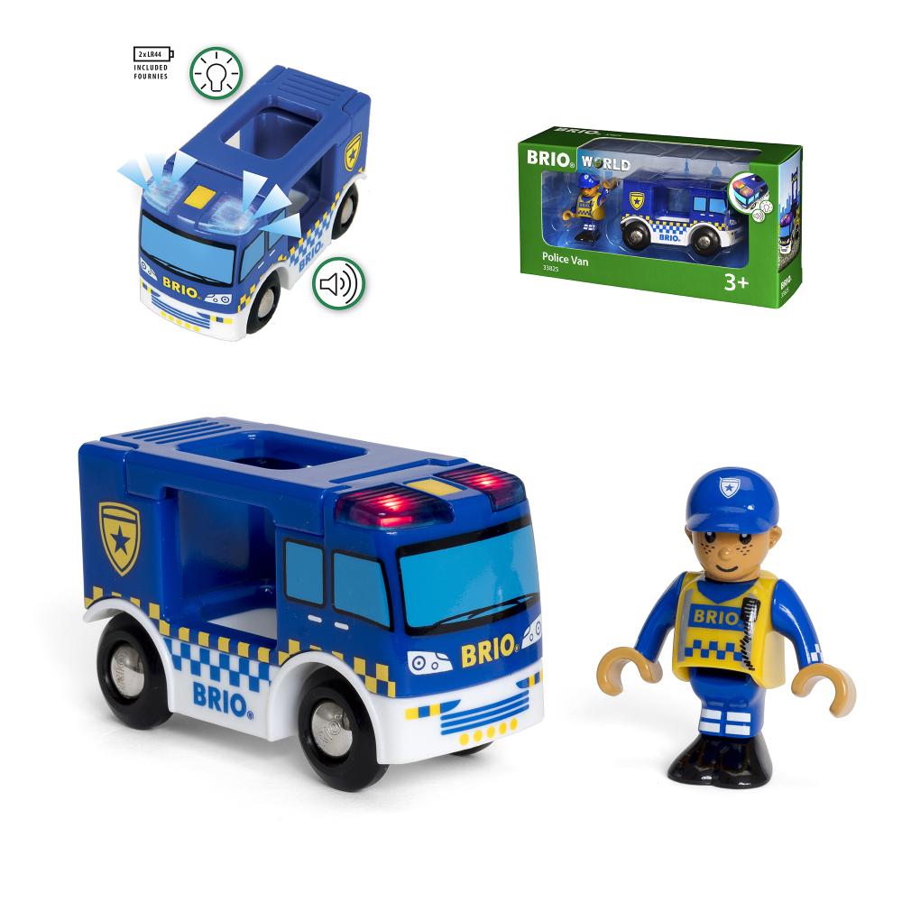 BRIO фургон Полиция,2 эл.,свет,19х5х10см,кор.
