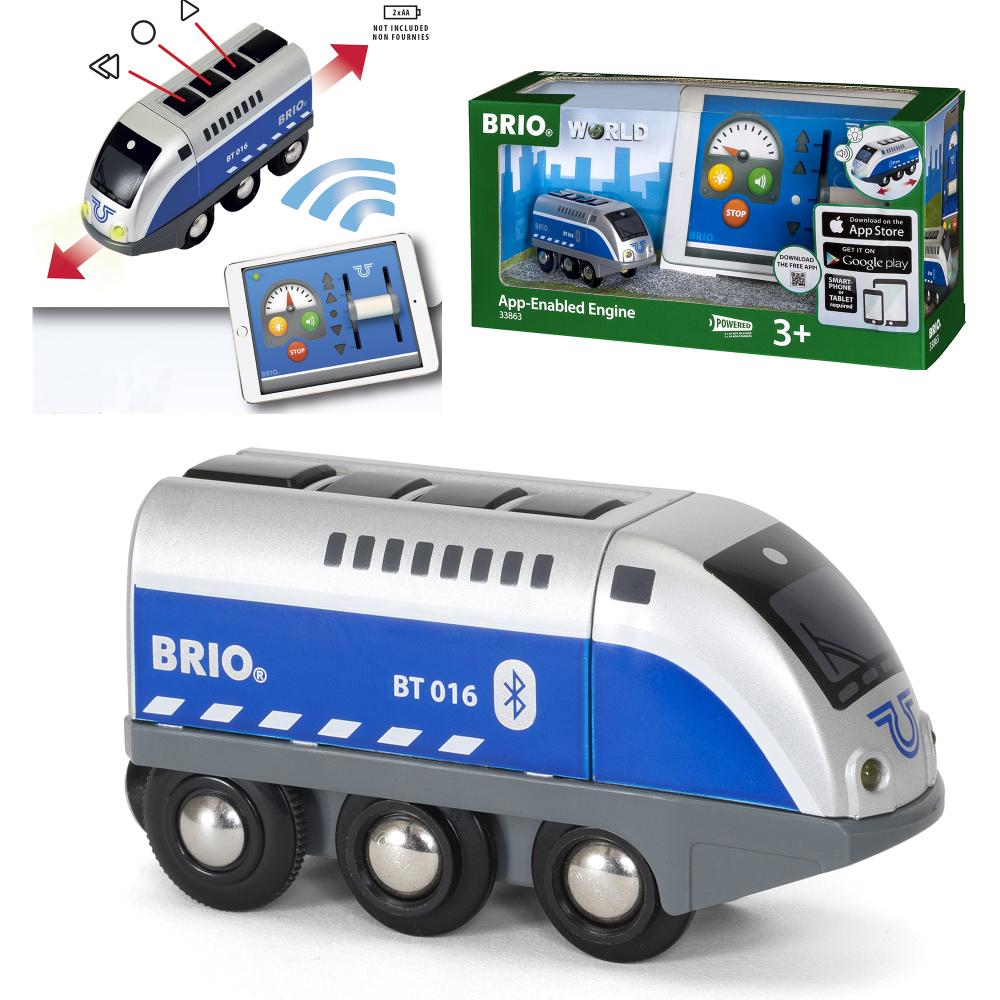 BRIO Паровозик,управляемый с мобильного приложения,свет,звук,29х9х15см,кор.