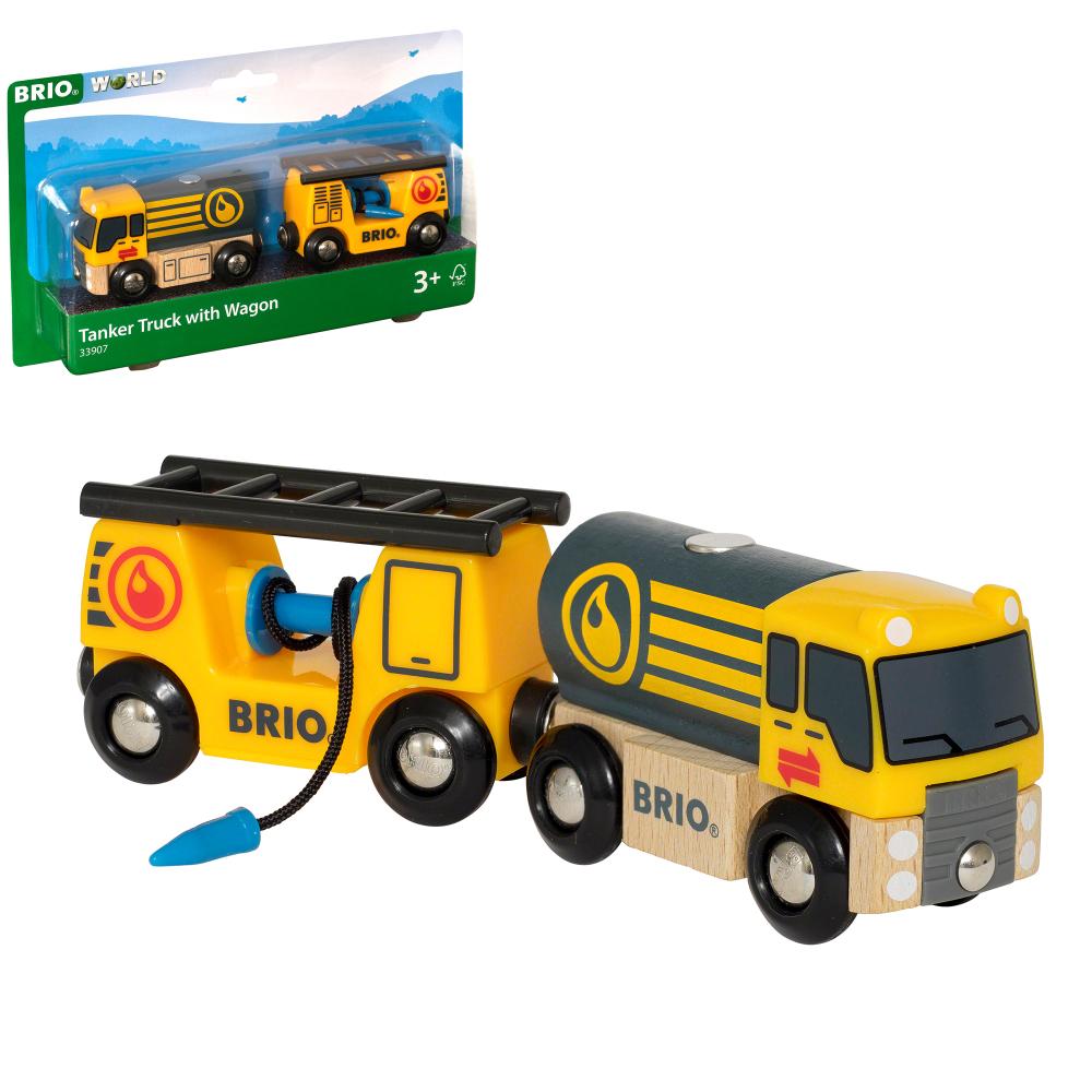 BRIO Бензовоз, размер в собранном виде 17,3х3,4х4,9 см., размер вагона 8,62х3,3,4х4,7 см., размер бензовоза 8,68х3,4х4,86 см., 2 элемента, блистер 22,