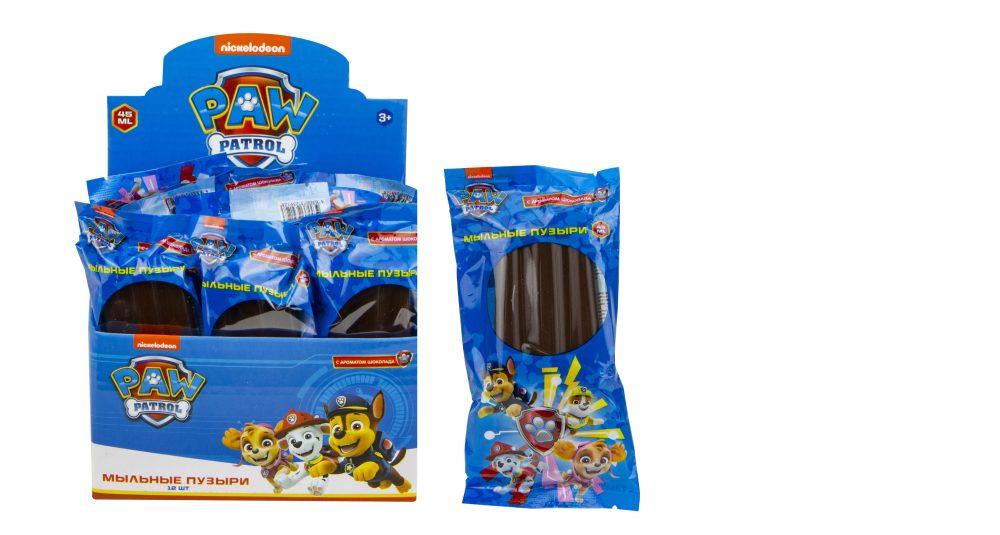 1toy Щенячий патруль, мыльные пузыри эскимо с шоколадным ароматом на палочке в цветной обертке, 45мл