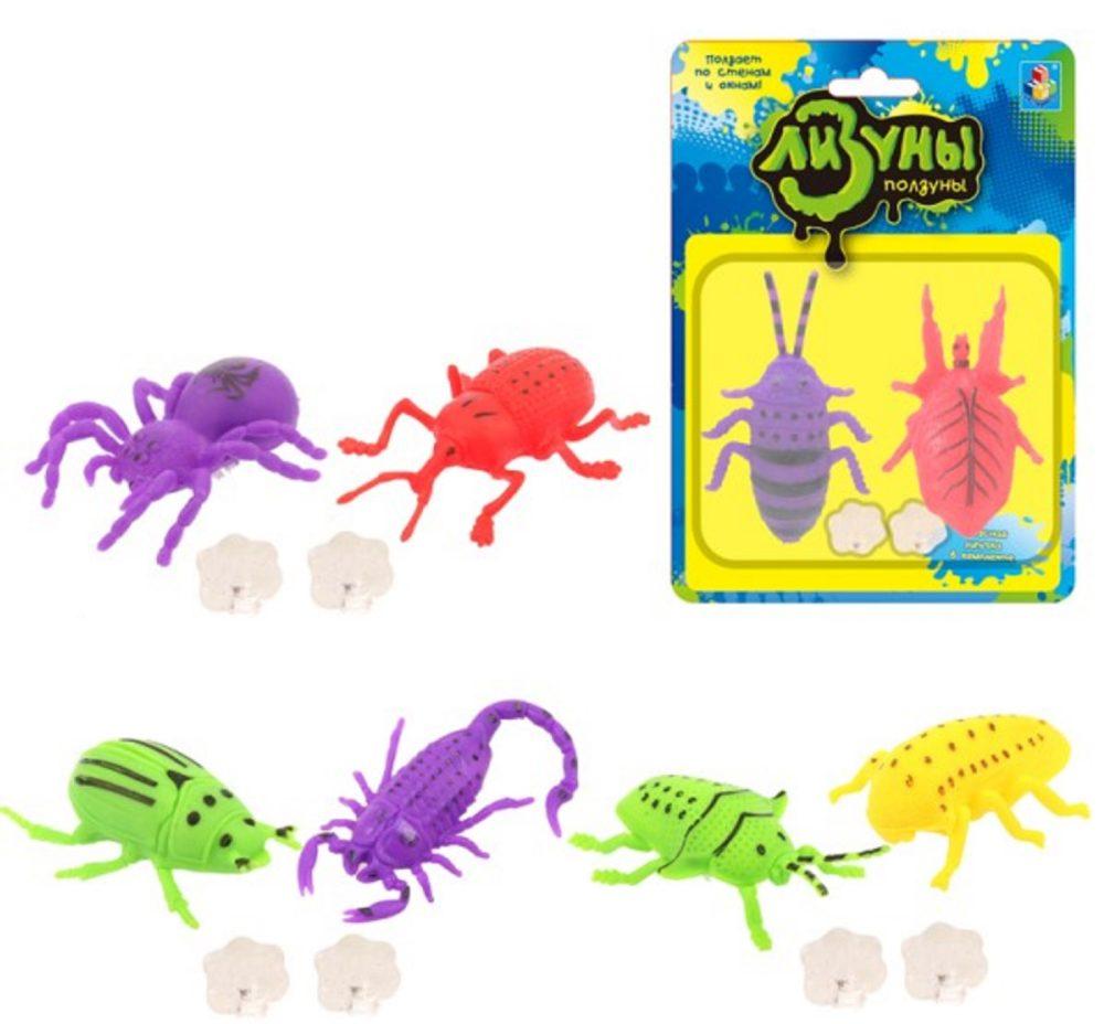 1toy Мелкие пакости Лизуны жуки 8*6 см., 4 вида в ассорт., доп. клеющийся элемент в компл., блистер