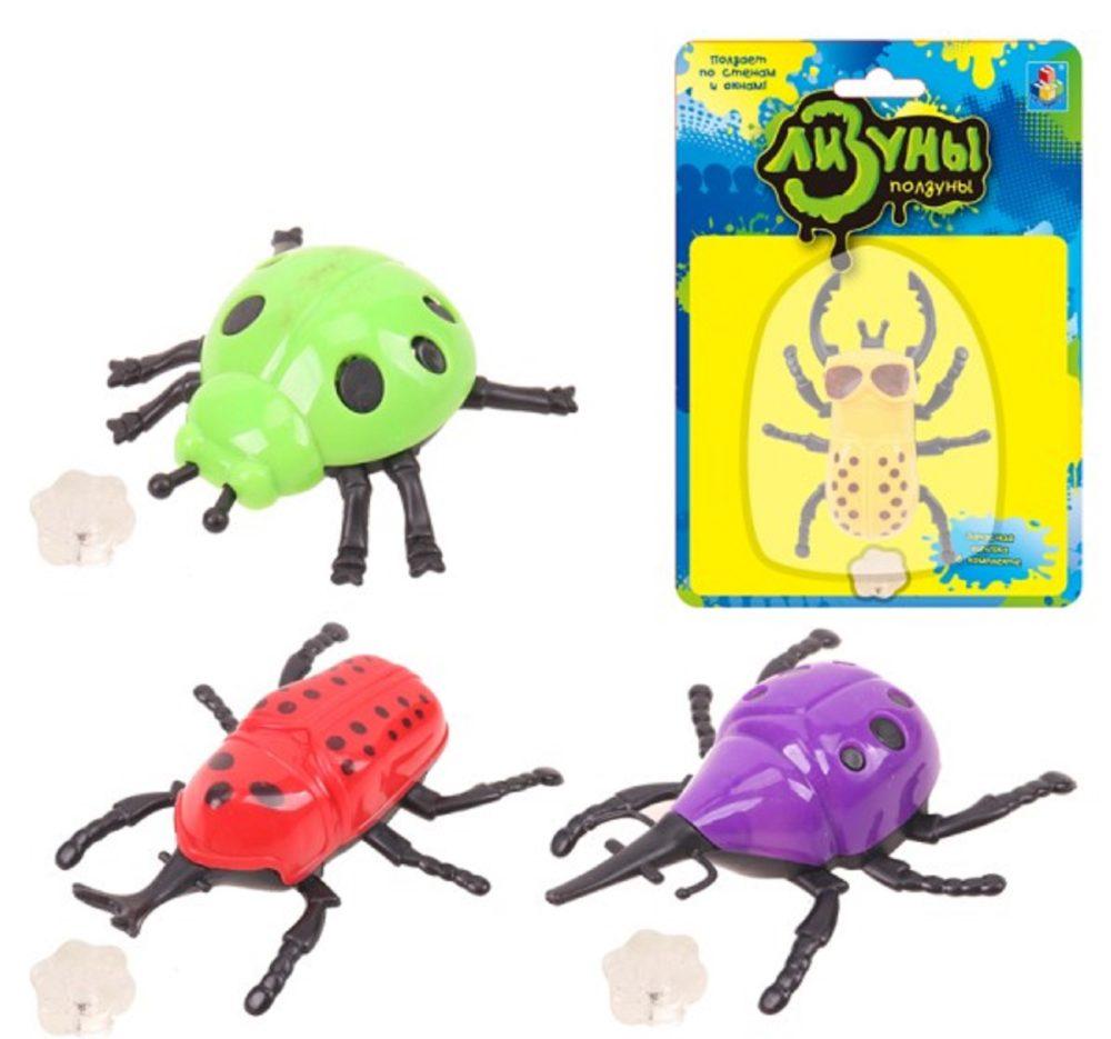 1toy Мелкие пакости Лизуны жук , 4 вида в ассорт., доп.клеющийся элемент в компл., блистер