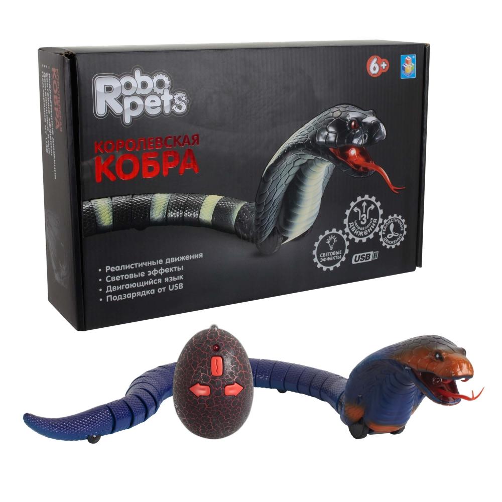 1 toy Игрушка Робо-Кобра (синяя) на ИК управлении, свет.эффекты, USB-зарядка, пульт работает от 3*AG13 бат.(входт в комп)