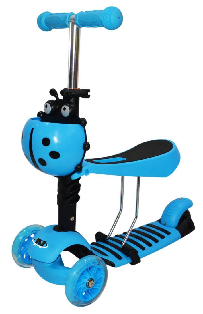 Самокат Navigator упр.накл,3-в-1,пласт/нейлон,PU светящ.кол.2х120мм/100мм,рег.алюм.руль,ручкиTPR,сид.рег.в 3 пол.,56*13*69(51)см,корз.,голуб.,3,3кг