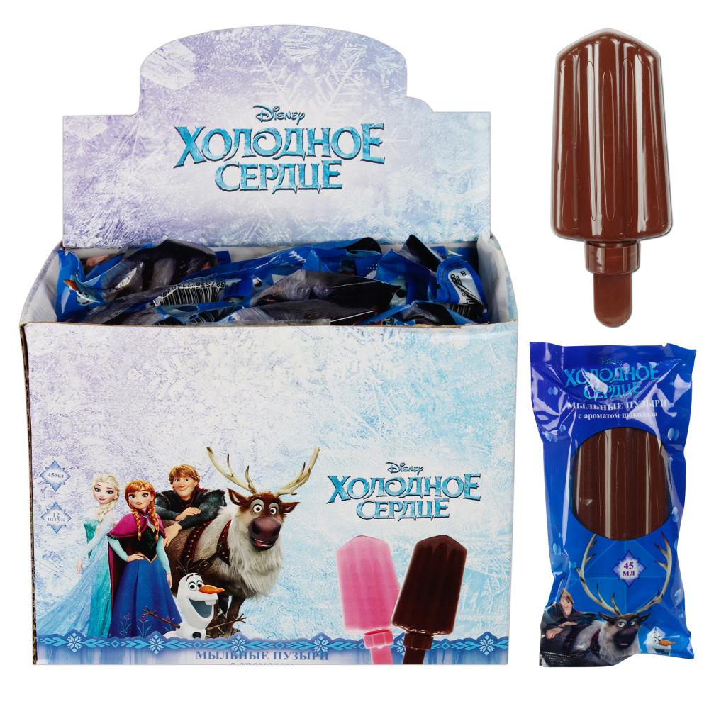 1toy Disney Холодное сердце, мыл.пуз. эскимо с шоколад.ароматом на палочке в цвет.обертке, 45мл., в д/б