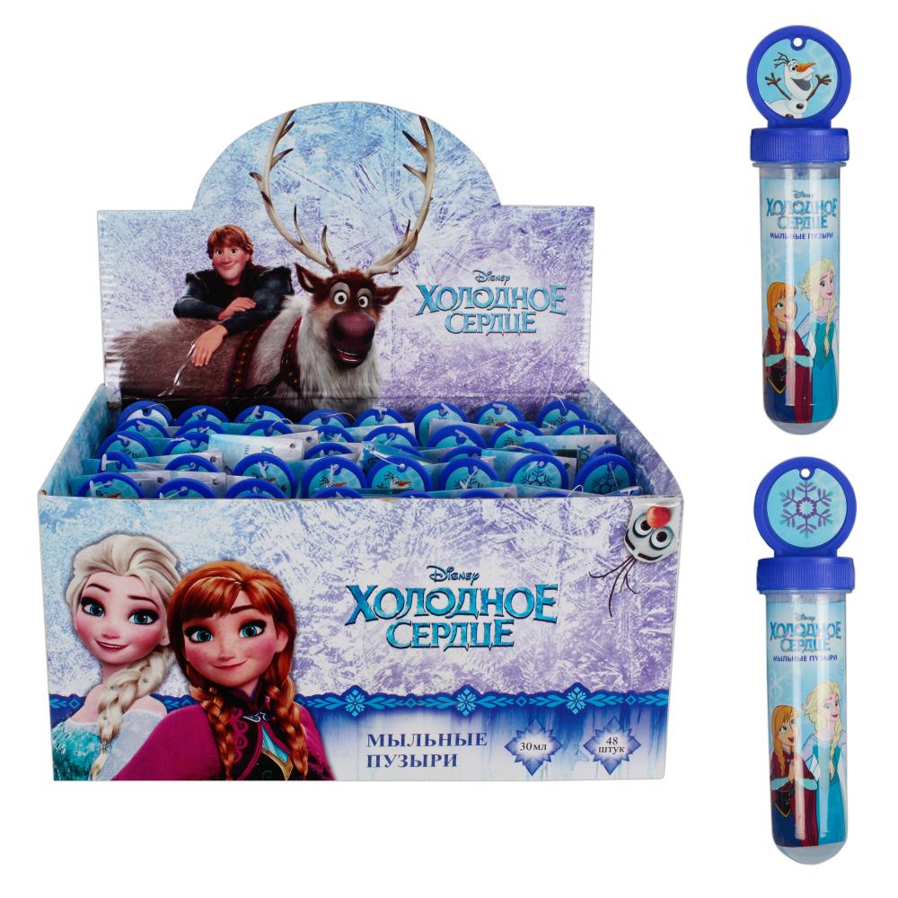 1toy Disney Холодное сердце, мыльные пузыри в колбе с термоплёнкой, 2 стикера, 30мл