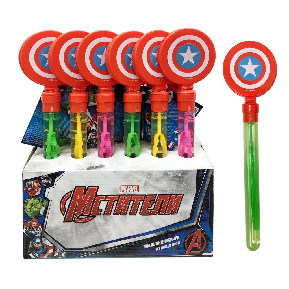 1toy Marvel Мстители, мыл. пузыри, колба с трещоткой, 60 мл, д/б