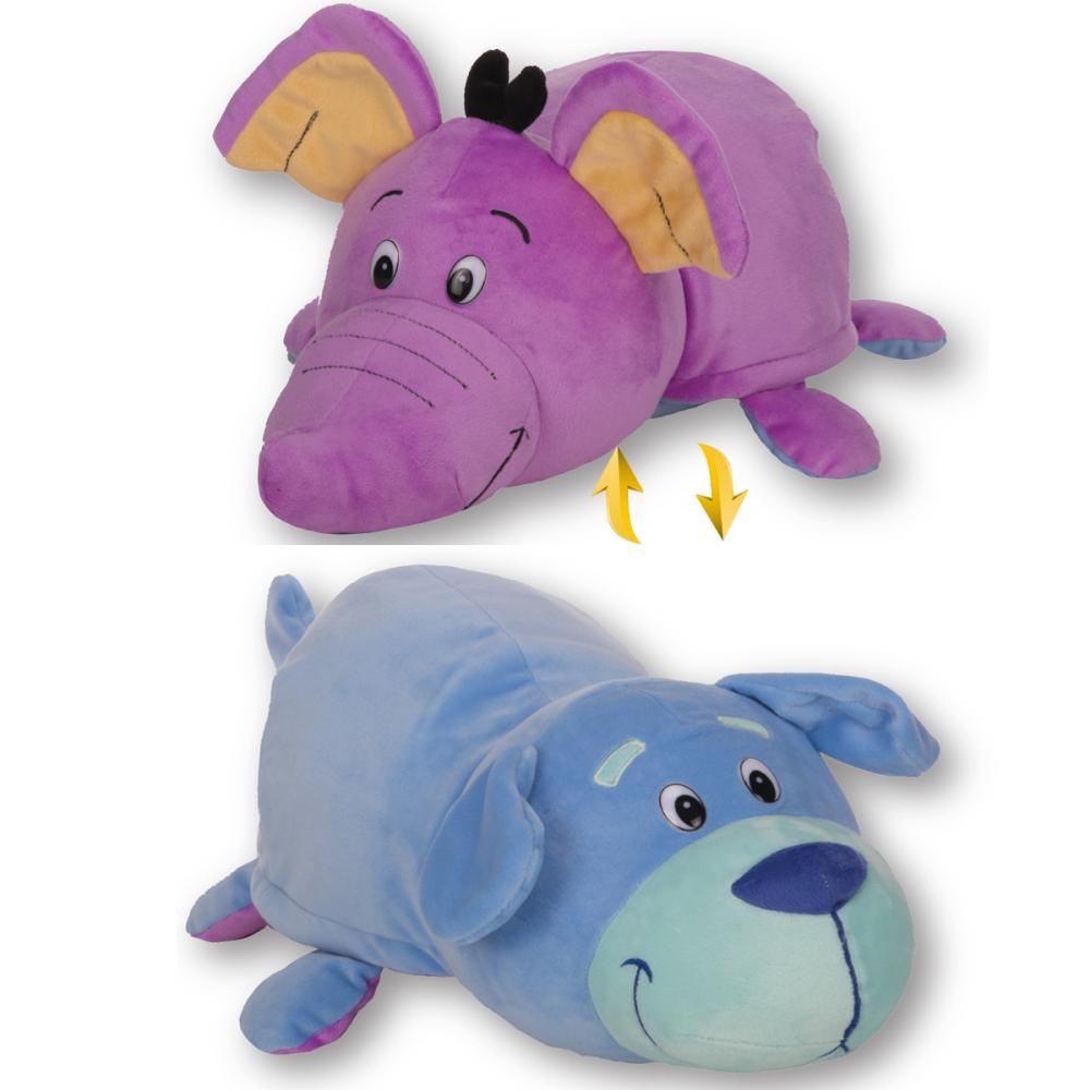 1toy плюш.Вывернушка 40 см 2в1 Голубой щенок-Фиолетовый слон,пакет